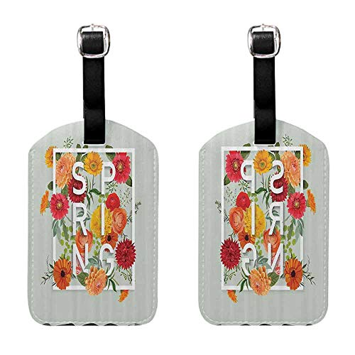 Labels Tags With Strap Flower,Magazine Cover Like Design with Frame Spring Letters Floral Daisies Art Print,Almond Green Baggage Name Tag (Best Of Louisville Magazine)