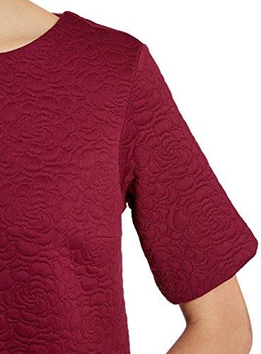 oodji Collection Mujer Vestido Recto de Tejido Texturizado Rojo (4900N)
