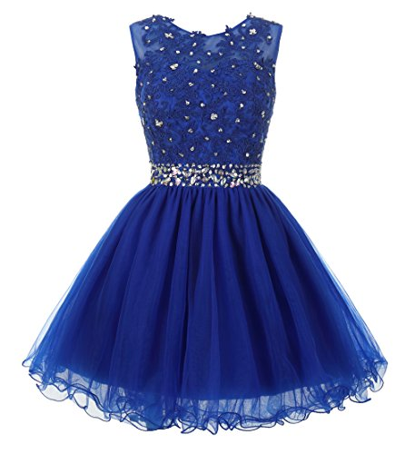 (Mamilove Women's Tulle Short Applique Beading Formal Homecoming Cocktail Party Dress 20W Royal Blue)