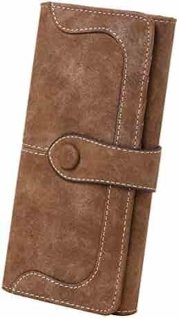 Women's Vegan Leather 17 Card Slots Card Holder Long Bifold Checkbook Wallet