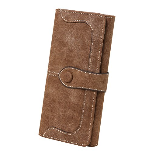 OOOK Women's Vegan Leather 17 Card Slots Long Bifold Organizer Wallet,Coffee