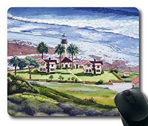 """Art Painting New Point Loma Lighthouse Oblong Mouse Pads/ Standard Rectangle Gaming Mousepad in 9""""7 by icecream design"""