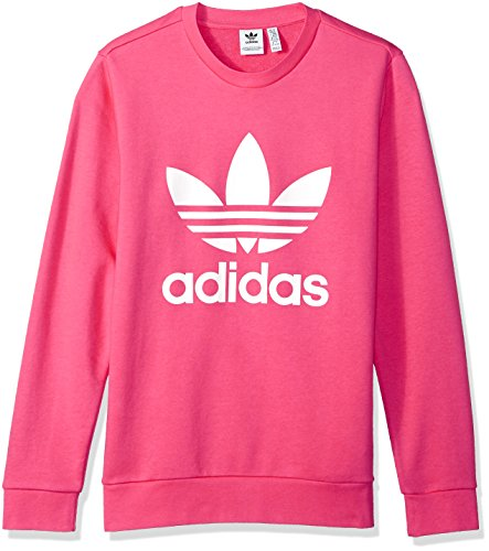 Adidas Terry Pullover (adidas Originals Big Girls' Originals Trefoil Crew Sweatshirt, Real Pink/White, S)