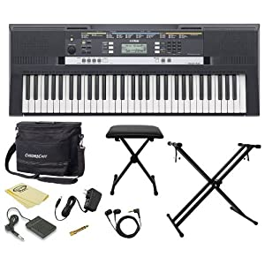 Yamaha PSR-E243 61-Key Portable Keyboard Kit - Includes: ChromaCast Keyboard Bench and Accessories