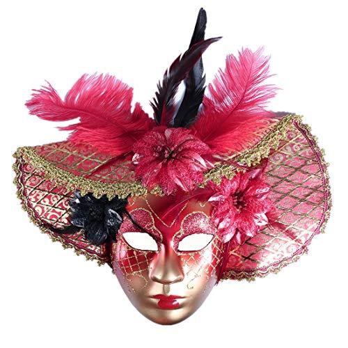 Jester Red Gold Decor Wear Mardi Gras Masquerade Mask Wall -