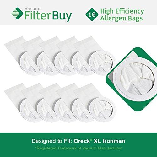 FilterBuy 10 Oreck Ironman Compatible Vacuum Bags. Replaces Oreck Part #'s PKIM765 & 61963. Allergen Filtration Vacuum Bags designed by to replace Oreck XL Ironman Vacuum Bags