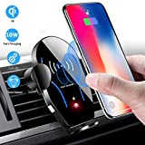 Car Phone Mount Stand Air Vent Auto Clamping Cell Phone Holder Dock for Car Wireless Charger 10W Qi Fast Charging Station Compatible with iPhone Xs Max/XR/X 8/8 Plus Samsung Galaxy Note 9/8/ S9/ S8