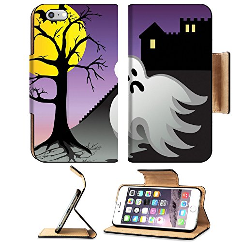 Elite Costumes Inc (MSD Premium Apple iPhone 6 Plus iPhone 6S Plus Flip Pu Leather Wallet Case IMAGE ID: 3628859 Spooky halloween ghost and bats fly around castle with graves at night)