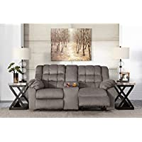 Ashley Furniture Signature Design - Mort Reclining Loveseat - Manual Reclining Couch - Contemporary Style - Charcoal