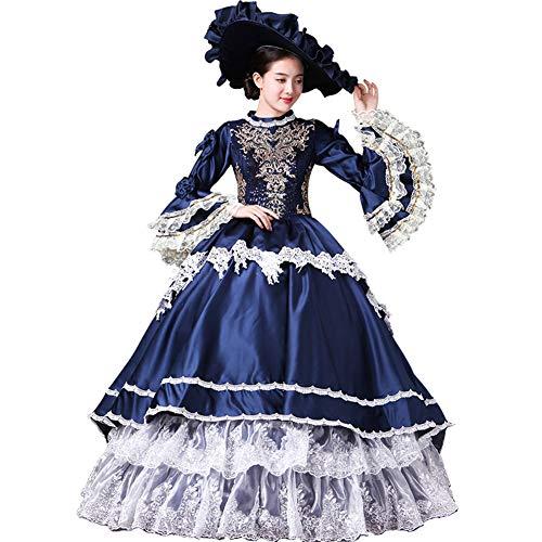 SALELOLITA Dark Blue Marie Antoinette Masquerade Gown Dresses Halloween Gothic Ball Gown Carnivale Costume (Dark Blue, XL) -
