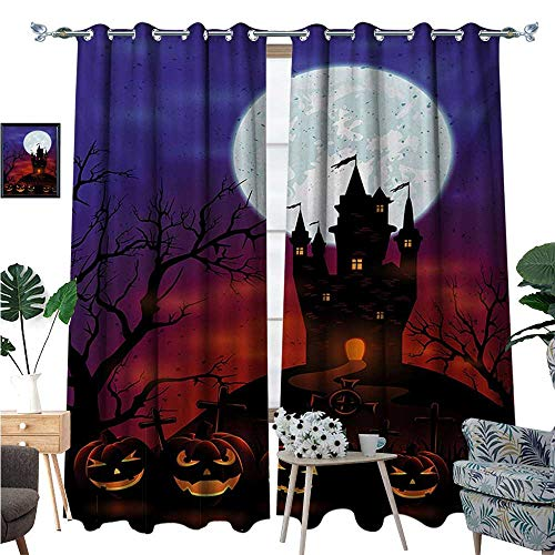 BlountDecor Halloween Window Curtain Fabric Gothic Haunted House Castle Hill Valley Night Sky October Festival Theme Print Drapes for Living Room W72 x L108 Multicolor -