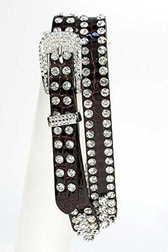 [Trendy Fashion Jewelry 2 Row Crystal Studded Belt By Fashion Destination | (Brown)] (Dallas Wholesaler Costumes Jewelry)