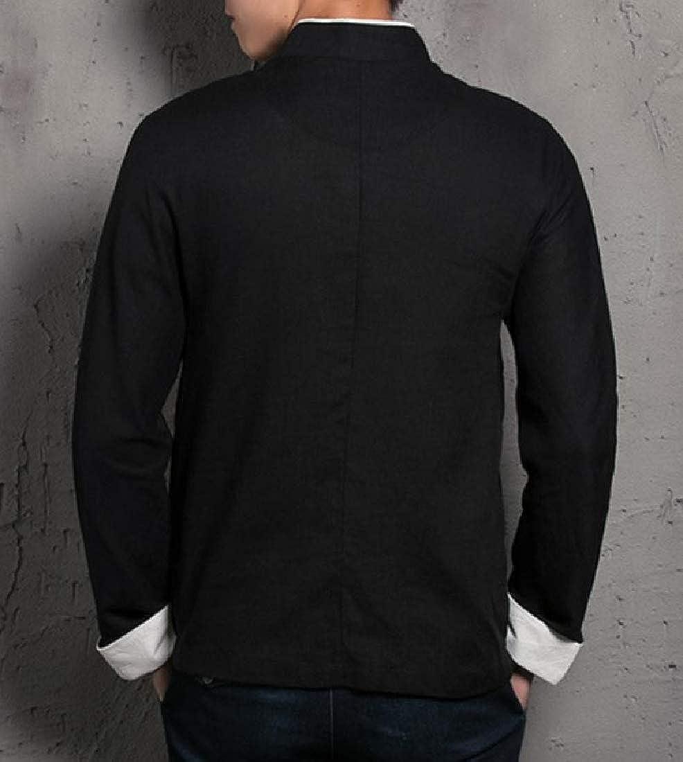 YUNY Men Embroidery Button-Down-Shirts Linen Cotton Retro Shirt Black L
