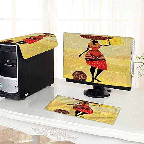 Computer Three-Piece dust Cover African Woman with a Pot on Her Hand Bohemian Folk Culture Illustration Mustard Protect Your Computer - Mustard Old Pot