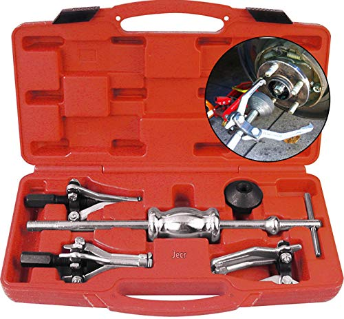 Jecr Slide Hammer Puller Set - Internal and External 3 Jaw Bearing and Bushing Pulling Tool Kit - Three Leg Slide Hammer Puller Set With Case - For bearings, bushings, seals, retainers, etc.