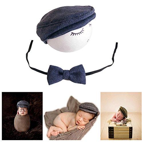 Fashion Luxury Unisex Newborn Boy Girls Baby Outfits Photo Props Gentleman Cap (Navy)