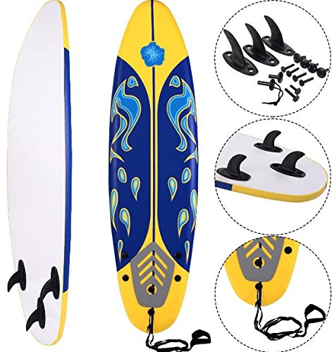 K&A Company Beach Foamie Body Surfboard Surfing Ocean Surf Boarding Board New 6' Yellow 200 lbs Capacity by K&A Company