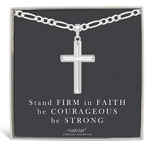 Mens Sterling Silver Cross Necklace Figaro Chain and Faith Card Gift - - Inspired Silver Pendant