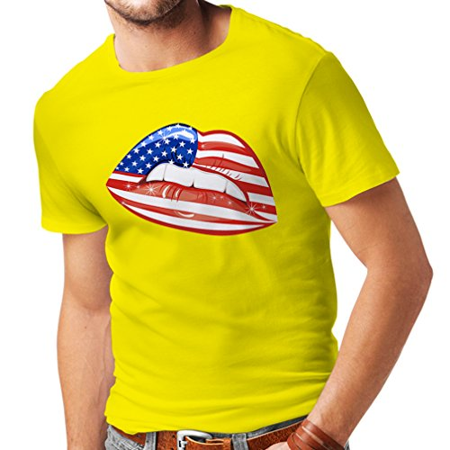 lepni.me T Shirts For Men Patriotic USA Lips- American Flag Clothing (Small Yellow Multi - Outlet 1 Tanger