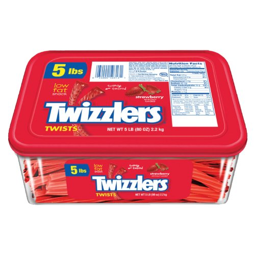 TWIZZLERS Twists, Strawberry Flavored Licorice Candy, 5 Pound Container (Halloween Candy)
