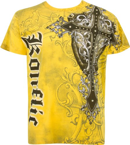 TG957T Cross Metallic Silver Accents Short Sleeve Crew Neck Cotton Mens Fashion T-Shirt - Yellow / - Outlet Stores Shore Jersey