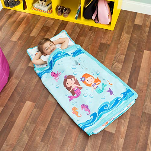 Everyday Kids Toddler Nap Mat with Removable Pillow -Underwater Mermaids- Carry Handle with Fastening Straps Closure, Rollup Design, Soft Microfiber for Preschool, Daycare Sleeping Bag, Ages 2-4 ()