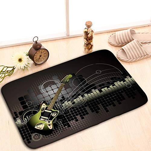 YGUII Custom Indoor/Outdoor Decor Rug Doormat Machine-Washable 48(L) x 16(W) Inch Electric Guitar Music Watercolor