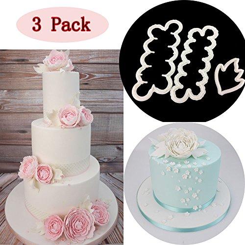 Sakolla Set of 3 The Easiest Peony Rose Cookie Cutter CupCake Decorating Gumpaste Flowers Fondant (Easy Fondant)