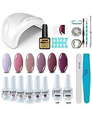 Vishine Gel Nail Polish Starter Kit with 48W SUNOne UV LED Nail Lamp Speed Dryer Manicure Tools 6 Pretty Colors Gel Polish Base and Top Coat #03