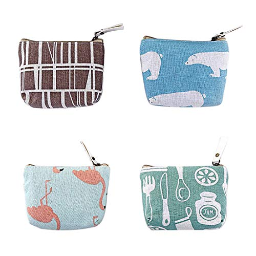 Oyachic 4 pcs Coin Purse Zipper Change Pouch Mini Wallet Gift for Women and Girls (Bear and flamingo)