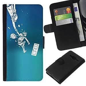 LECELL--Cuero de la tarjeta la carpeta del tirón Smartphone Slots Protección Holder For Samsung Galaxy Core Prime -- Empuje Monster --