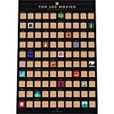 (US) Enno Vatti 100 Movies Scratch Off Poster - Top Films of All Time Bucket List (16.5 x 23.4 in)