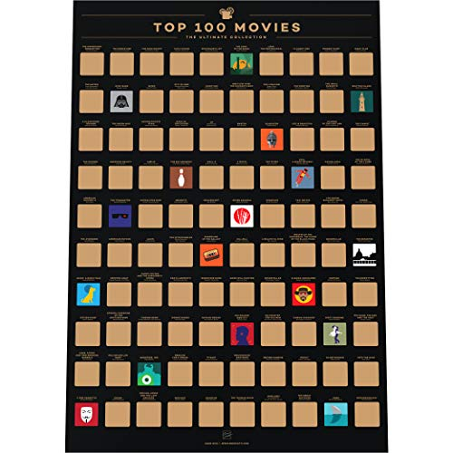 Enno Vatti 100 Movies Scratch Off Poster - Top Films of All Time Bucket List (16.5 x 23.4 in)