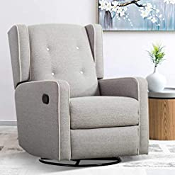 Living Room CANMOV Swivel Rocker Recliner Chair, Manual Reclining Chair, Single Seat Reclining Chair, Gray