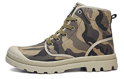 WUIWUIYU Unisexe Baskets Hautes Chaussures en Toile Chaussures de Loisirs Vert(b) O8lmV