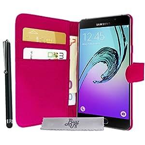 Buyus-Funda con tapa para LG K7, lápiz capacitivo y 3 protectores de pantalla, color negro