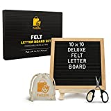Wooden Black Felt Letter Board – with Stand, Brass Wall Hanger, Scissors, Bag, 300 White Letters and 10 Inch Sq. Oak Frame - for Instagram Bulletins, Family Messages, Kids Fun, Café Menus