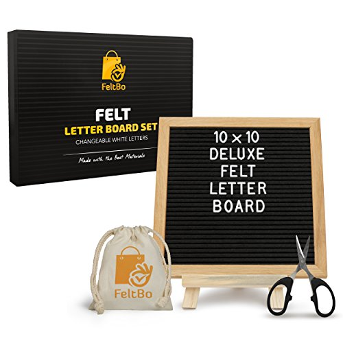 Wooden Black Felt Letter Board – with Stand, Brass Wall Hanger, Scissors, Bag, 300 White Letters and 10 Inch Sq. Oak Frame - for Instagram Bulletins, Family Messages, Kids Fun, Café Menus (Wall Felt)
