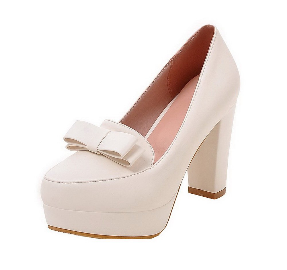 AllhqFashion Women's Round Closed Toe High-Heels PU Solid Pull-On Pumps-Shoes, White, 43
