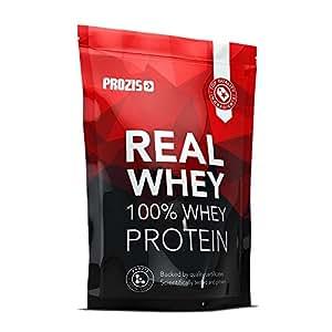 Prozis 100% Real Whey Protein 400 g: Suplemento puro en polvo. Disfruta del batido con sabor a vainilla más delicioso del mercado. Con un perfil completo de aminoácidos y rico en BCAA para optimizar el desarrollo muscular y la recuperación. Ideal para culturistas. ¡16 dosis!