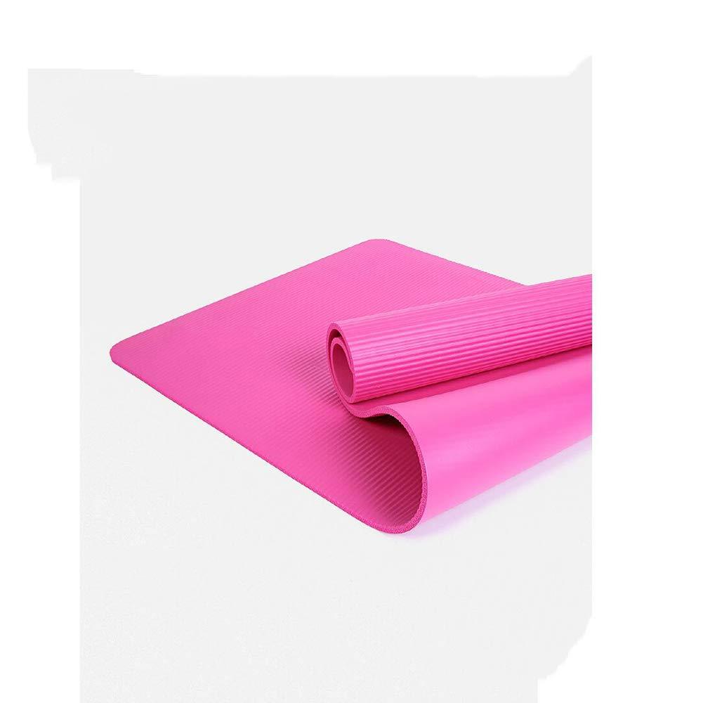 JILI Palestra Principiante Allargato Antisdrucciolo Stuoia di Yoga, Anti-Strappo Esercizio Multiuso più Spessa stuoia, Easy to Clean Tre Pezzi Stuoia della Gomma Piuma-rosa 185x80x1cm