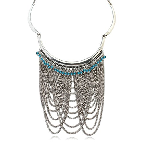 Adisaer Gold Plated Bohemian Statement Necklace for Womens Multilayer Chain Tassel Zirconia Blue
