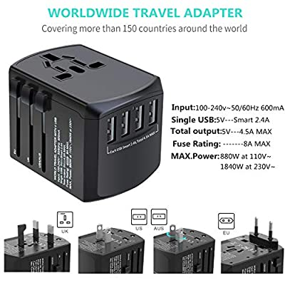 Universal Travel Adapter, International Power Adapter, Worldwide Plug Adaptor with 4 USB Ports, High Speed 4.5A Wall Charger, All in One AC Socket for USA UK AUS Europe Asia Cell Phone Laptop: Home Audio & Theater