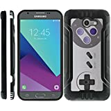 TurtleArmor | Compatible for Samsung Galaxy J3 Emerge Case | J3 (2017) | Slim Dual Layer TPU Armor Hybrid Brushed Metal Shell Case - Classic Game Controller