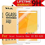 Acer Iconia One 10 B3-A20 Glass Screen Protector, AnoKe [Lifetime Warranty] (0.3mm 9H) Best Tempered Glass Screen Protector Film Shield For Acer Iconia One 10 B3-A20 Glass