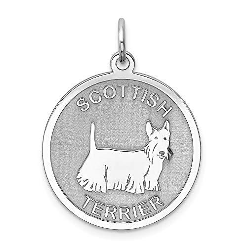 Jewel Tie 925 Sterling Silver Scottish Terrier Disc Pendant Charm (19mm x - Terrier Charm Disc Scottish