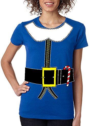Allntrends Women's T Shirt Elf Suit Santa's Elves Christmas Tee Xmas Gift (M, Royal Blue)
