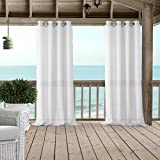 gazebo curtains with velcro Bali Sheer Indoor/Outdoor Grommet Top Single Panel Window Curtain Drape/Curtain Patio, Gazebo and Pergola Panel Includes 1 tieback, 52 Inch Wide X 95 Inch Long, White
