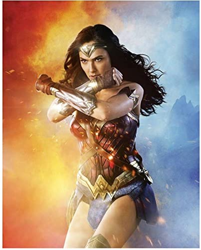 Wonder Woman 2017 8 Inch X 10 Inch Photograph Gal Gadot From Knees Up Crossing Arms Red Gold Blue Background Kn At Amazon S Entertainment Collectibles Store
