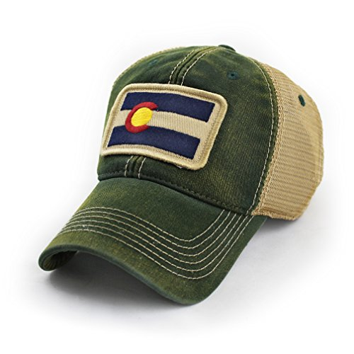 (State Legacy Revival Colorado Flag Patch Trucker Hat, Green)